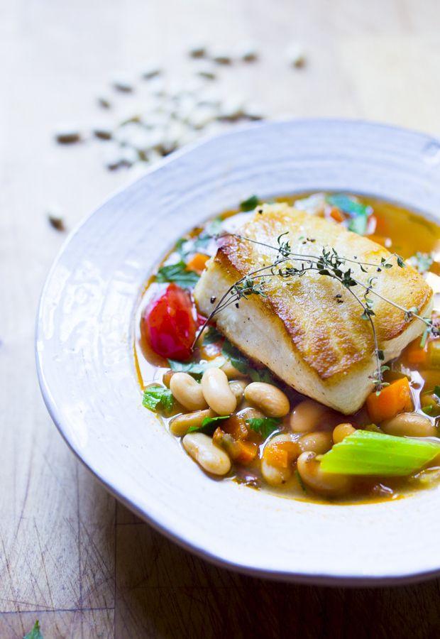 Sea Bass with Cannellini Bean Stew | www.feastingathome.com