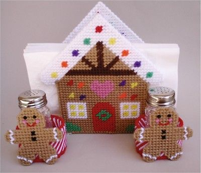 Gingerbread House Napkin Holderr Plastic Canvas Pattern Christmas | eBay