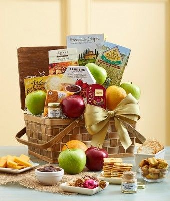 Our new Fruit and Gourmet Gift Basket is a decadent gift for that special Person in your life. This basket includes Cheddar cheese, cranberry sea salt almonds, dark chocolate fruit & snack dip, Godiva chocolate, Tuscan focaccia crisps and more.