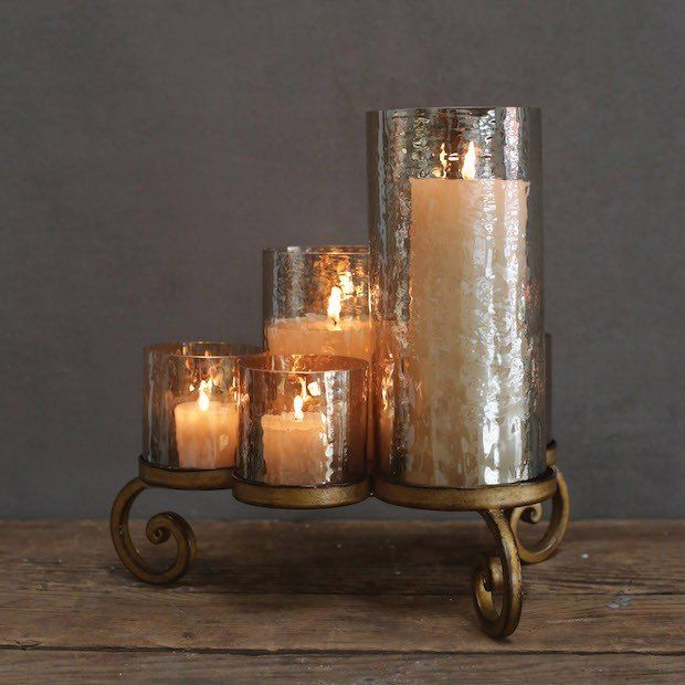 Candle holder centerpiece glass home