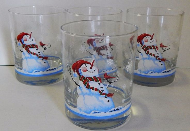 4 Libby Multi/Color Snowman Old Fashioned Glasses Christmas Winter Water Tumbler #Libby