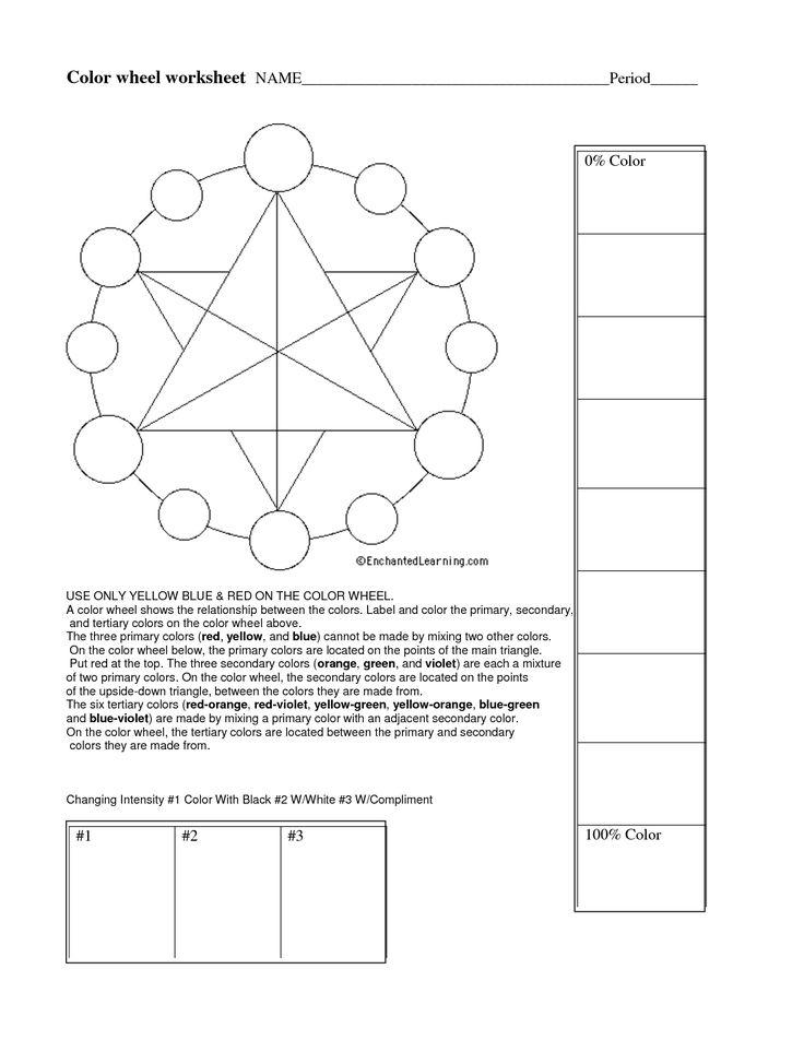 Color wheel worksheet Art Worksheets Pinterest