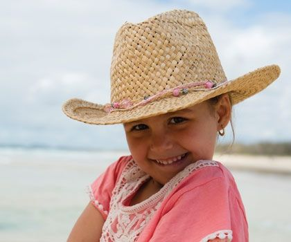 Wild West Cowboy Hat. A must for every little girl. This straw cowboy hat has a great wide brim and gorgeous pink & silver beads around the crown.