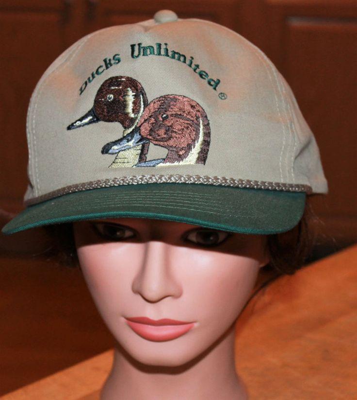Ducks Unlimited Snap Back Ball Cap Embroidered Duck Head Khaki/Green #DucksUnlimited #BaseballCap