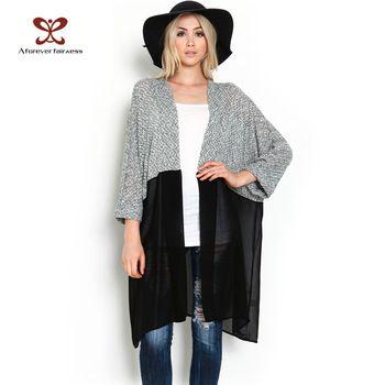 2015 mujeres del otoño Kimono Cardigan de punto blusa de gasa camisa para mujer de la gasa larga Casual Cardigans Kimonos más tamaño XS-3XL 440
