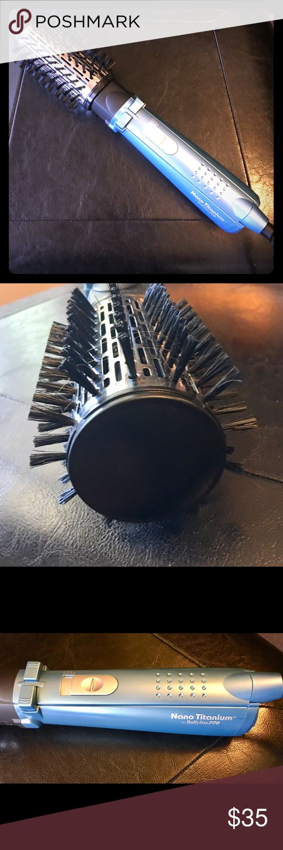 "NWOB Pro Nano Titanium spin dry round brush. This BaByliss Pro heat dry round brush is 2"". Use on damp or dry hair. Create tons of volume or go for a smooth sexy finish. BaByliss Pro Accessories Hair Accessories"