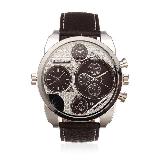 OULM 9316 Men 4 Dial Display GMT Analog Leather Wrist Watch