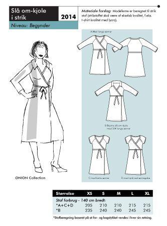 Mönster på en omlott-klänning i trikå