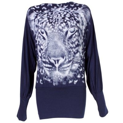 Ladies Batwing Top Long Sleeved Tunic Jumper with Tiger Print - Navy £9.99
