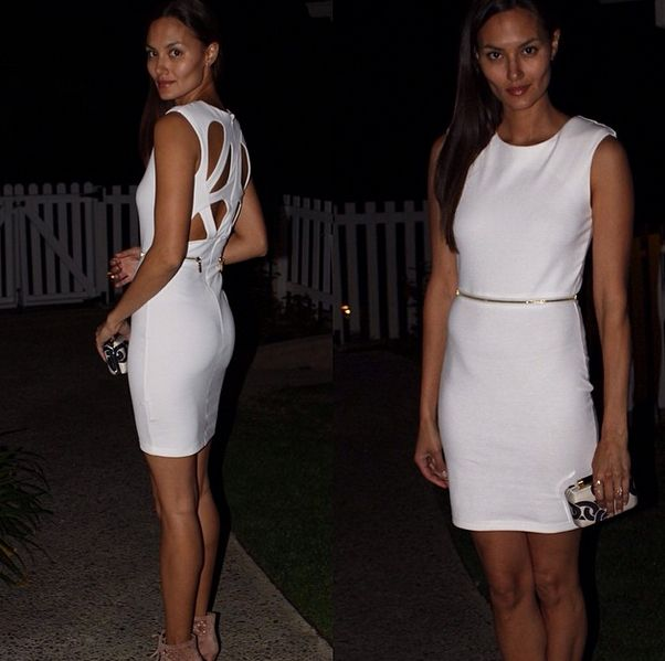 Model Anne Marie Kortright Was Spotted In Her Kardashian Kollection Lipsy Cutwork Bodycon Dress We