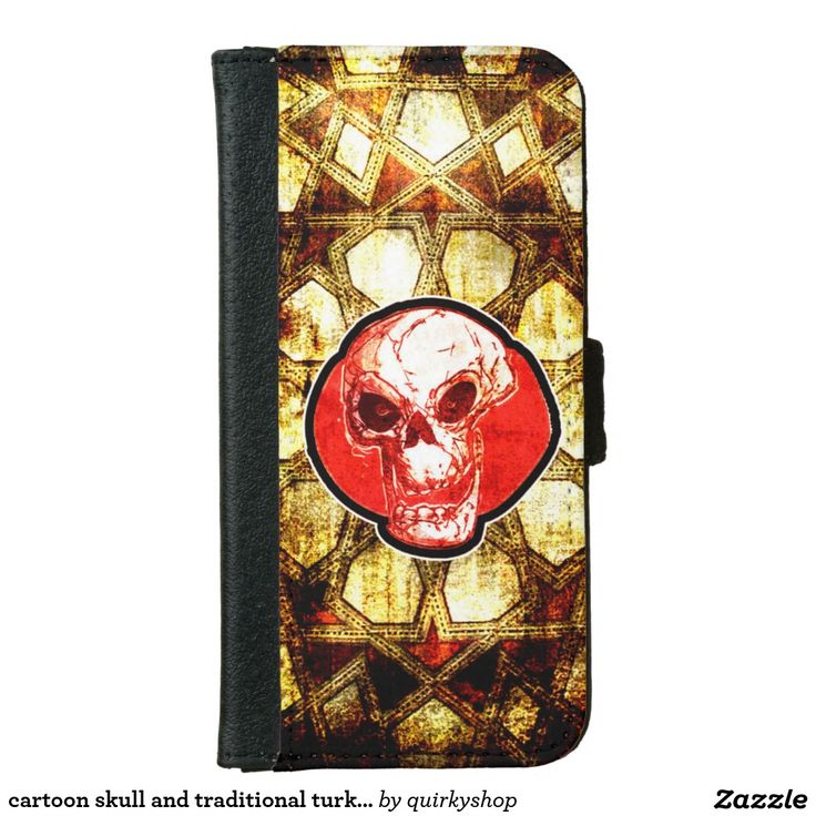 cartoon skull and traditional turkish tiles backg iPhone 6/6s wallet case