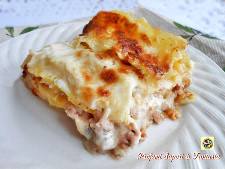 Lasagne bianche con prosciutto cotto e formaggio