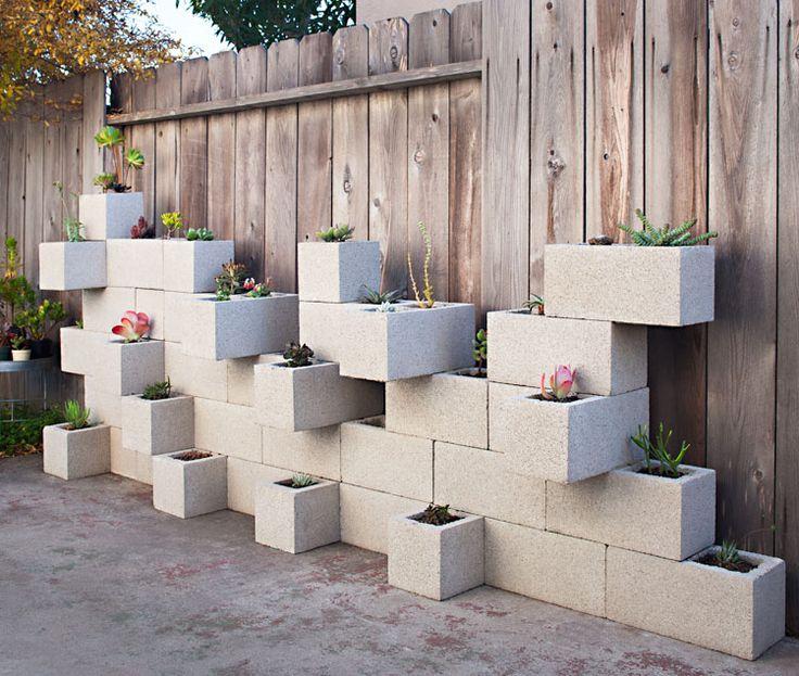 Cinder Block Succulent Planter Project: Gardens Ideas, Contemporary Landscape, Succulents Planters, Cinder Blocks Gardens, Cinderblock, Herbs Garden, Blocks Planters, Planters Wall, The Blocks