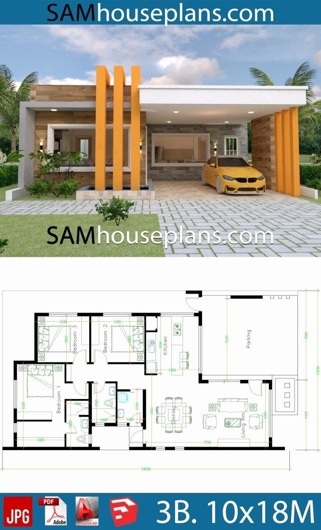 10 X 18 Kitchen Layout Awesome House Design 10 18 With 3 Bedrooms Terrace Roof Putri Best In 2020 Modern Bungalow House Model House Plan House Construction Plan