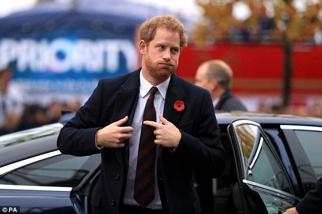 Prince Harry arrived at Twickenham Stadium in southwest London 12 Nov 2016.