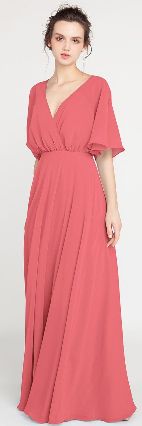 Coral Pink V-Neck Sleeved Long Bridesmaid Dress with Open Back #bridalparty #bridesmaiddress #wedding