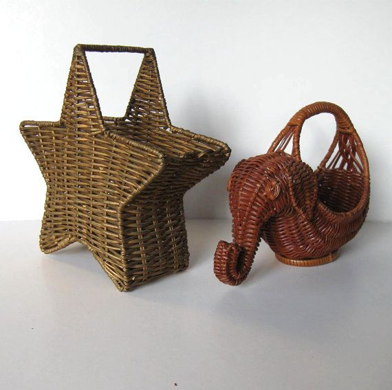 Small Elephant Decor: 2 Small Vintage Baskets, Home Decor, Wicker, Elephant