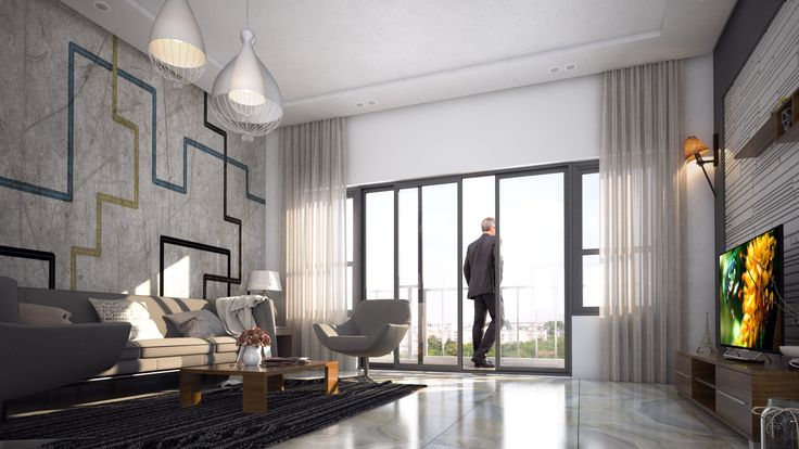 Spacious living at Emmanuel Heights off Sarjapur Road | RSP architect rendering of living area in 2, 3BHK apartments