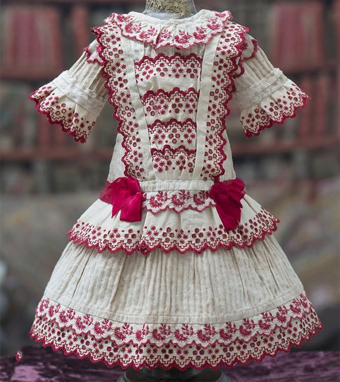 Antique Original French Cotton Dress with red embroidery for Jumeau from respectfulbear on Ruby Lane