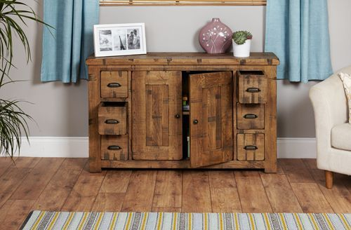 Rough Sawn Oak Six Drawer Sideboard  #wood #oak #furniture #sideboard #storage #home #interior #decor #livingroom #lounge #bedroom #hallway
