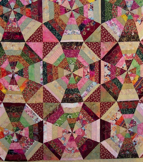 Kaleidoscope Strips and Strings Patchwork Quilt by mkhquilts,