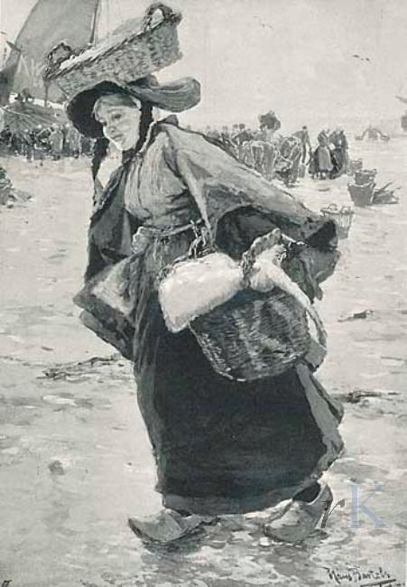 Hans von Bartels Vrouw bij de visafslag in Katwijk, vanaf 1887 veilinghuis onbekend 1905-02-22, 15 #ZuidHolland #Katwijk