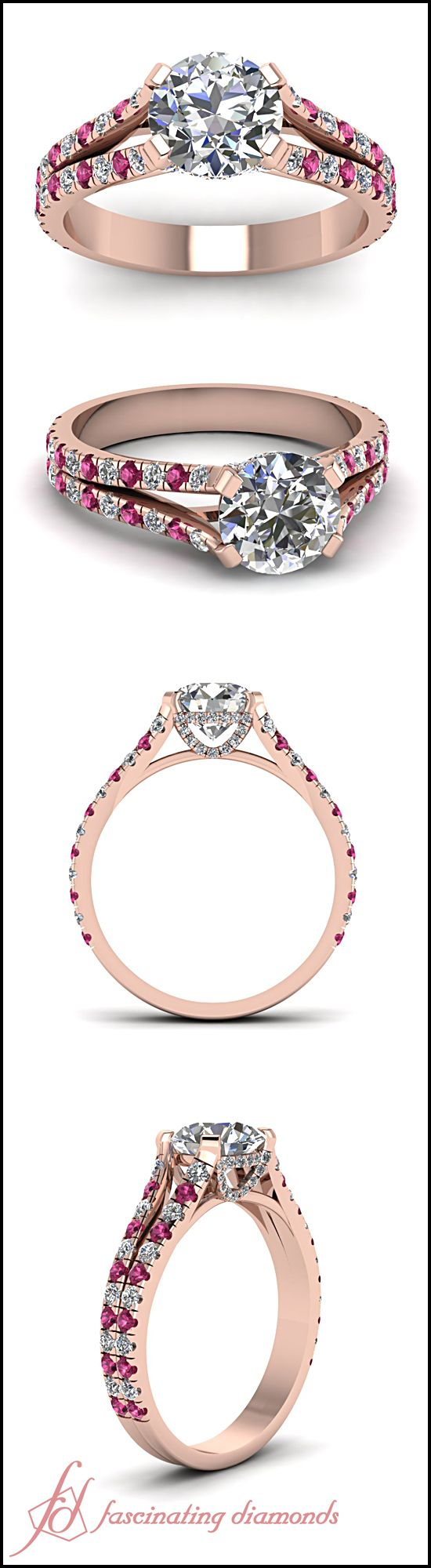 HOW unique and stunning! Round Cut Diamond and Pink Sapphire 14k Rose Gold Engagement Ring In French Prong Setting || Impeccable Ring