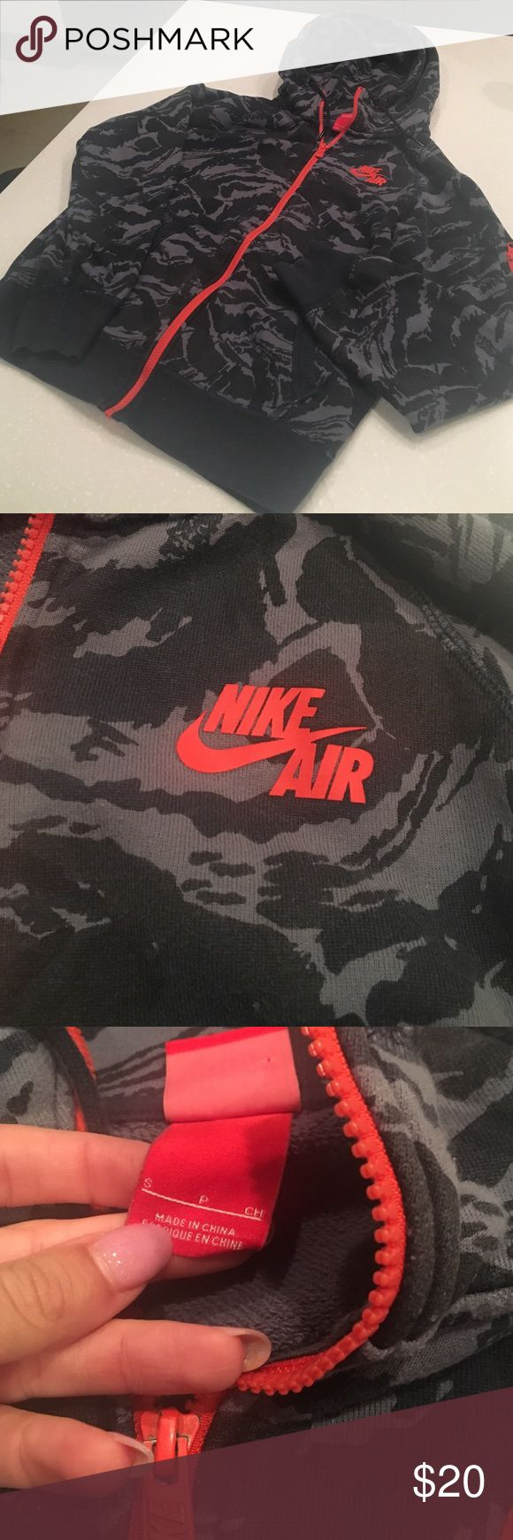 Men's Nike Air jacket Black and grey camo Nike air zip up jacket with red zipper. Men's apparel Nike Jackets & Coats