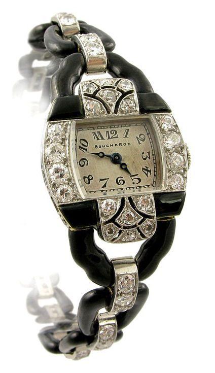 Boucheron Art Deco Diamond & Enamel Watch, France, ca 1925     An Art Deco handmade black enamel & diamond bracelet watch of graduating open link design, in platinum. Boucheron, Paris. Atw 3.71 cts. G-I Color, VS1/VS2 Clarity.