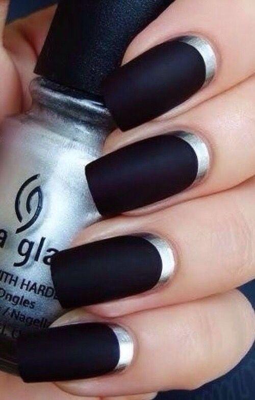 #Nails #Dark #Black #Uñas #Negro #Plateado