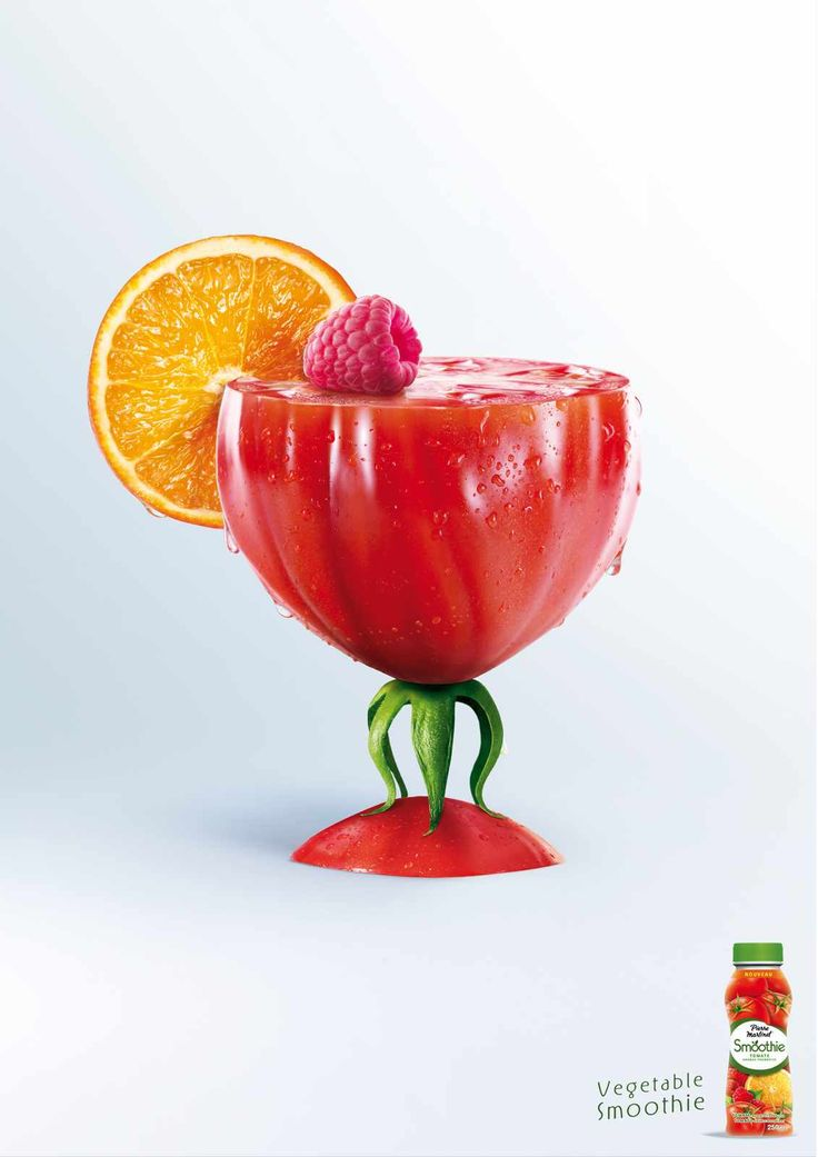 Pierre Martinet: Vegetable smoothie, Tomato || Advertising Agency: BEING (TBWA), Paris, France || Creative Director: Thierry Buriez || Art Director: Jean-Pierre Roges || Copywriter: Eric Sintes || Photographer: Laurent Fau / Studio des Fleurs || Art Buyer: Caroline Roesch || Published: May 2012