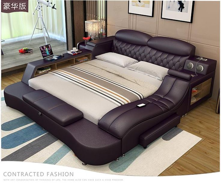 Modern luxury leather bed frames Led Lights and Full