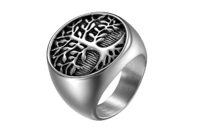 Men Silver Tree Of Life Ring Casting Stainless Steel Life Tree Rings, 8