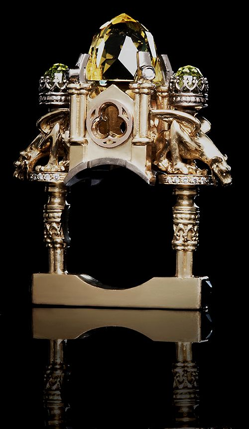 William Llewellyn Griffiths Ring: Gold and quartz cathedral, 2008 18ct yellow, White rose, gold, lemon quartz, diamonds, peridot, sapphire