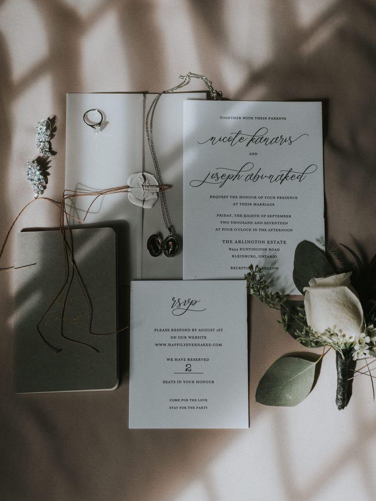 Elegant grey wedding invitation suite; PHOTOGRAPHY Joel + Justyna Bedford, destination wedding photographers