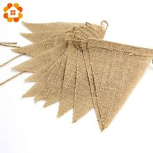 2015 New 3m Vintage Jute Hessian Burlap Bunting Banner Wedding party Photography Props Decoration Banner 13 Flags(China (Mainland))