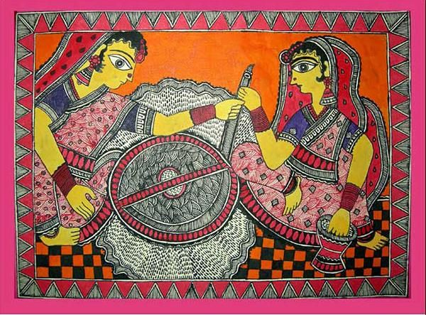 Indian Painting Styles...Madhubani/Mithila  Painting (Bihar)-village-women1-14-.jpg