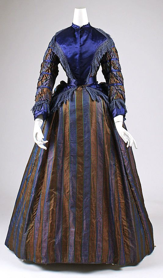 Silk day dress, ca. 1870