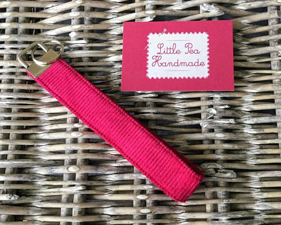 Bright pink corduroy fabric keyring / keychain
