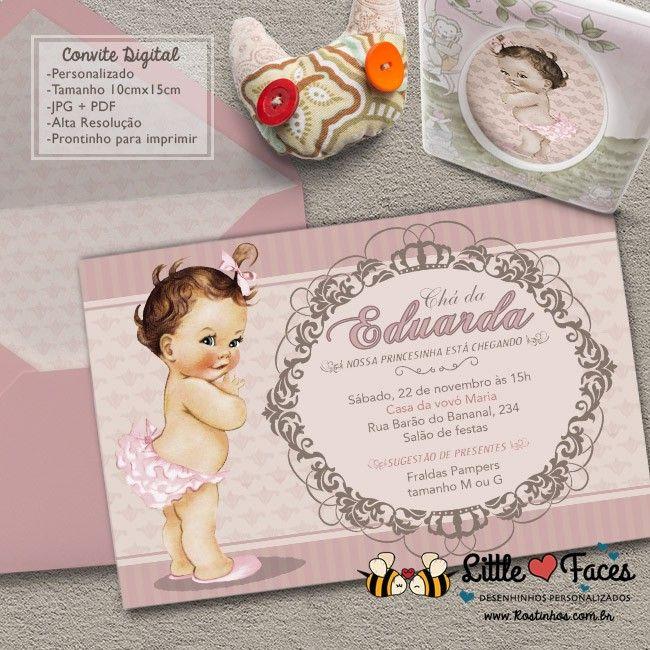 Convite Chá de Bebê Vintage para Imprimir