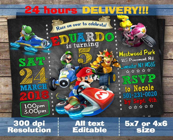 Mario Kart Invitation - Mario Kart Birthday Party Chalkboard Invite With Photo - Printable And Digital File, Digital file by OhMyLoveInvites on Etsy https://www.etsy.com/listing/580287940/mario-kart-invitation-mario-kart
