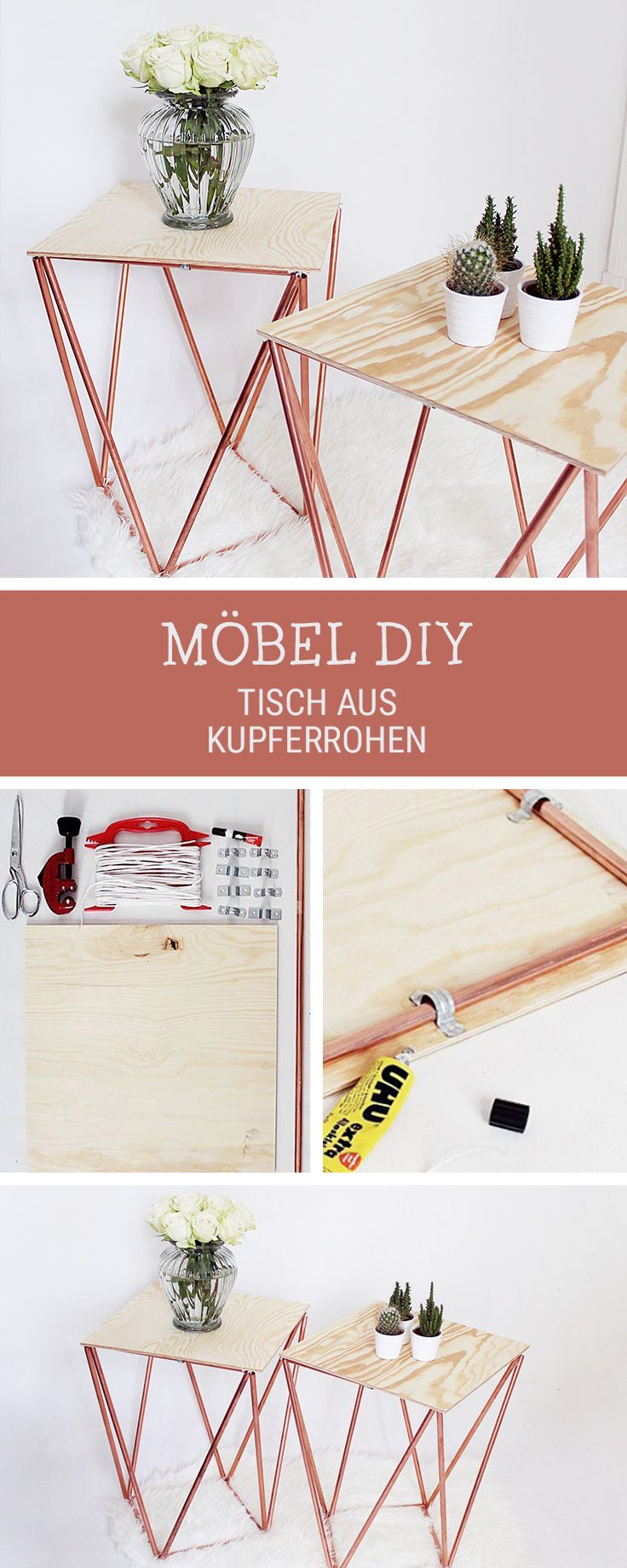DIY-Anleitung für einen modernen Tisch aus Kupferrohren und Holz, Möbel selberbauen / crafting project: side table made of copper pipes via DaWanda.com