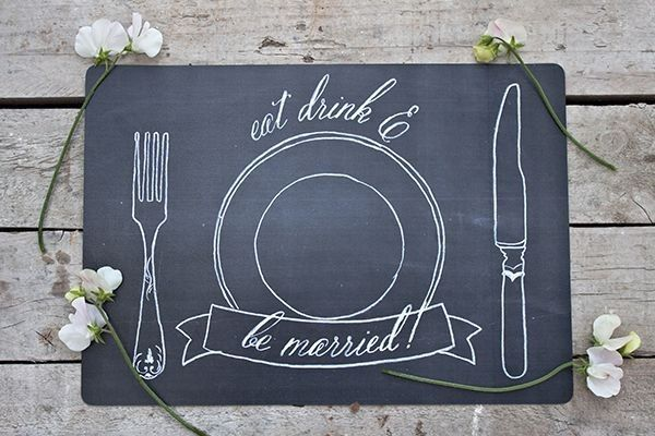 Free Chalkboard Placemat Printable for a Casual, Playful Wedding | Susan Brand Photography on @limnandlovely via @aislesociety