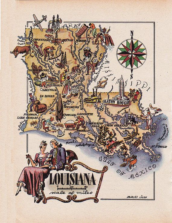 Pictorial Map of Louisiana from 1946 by French artist by artdeco