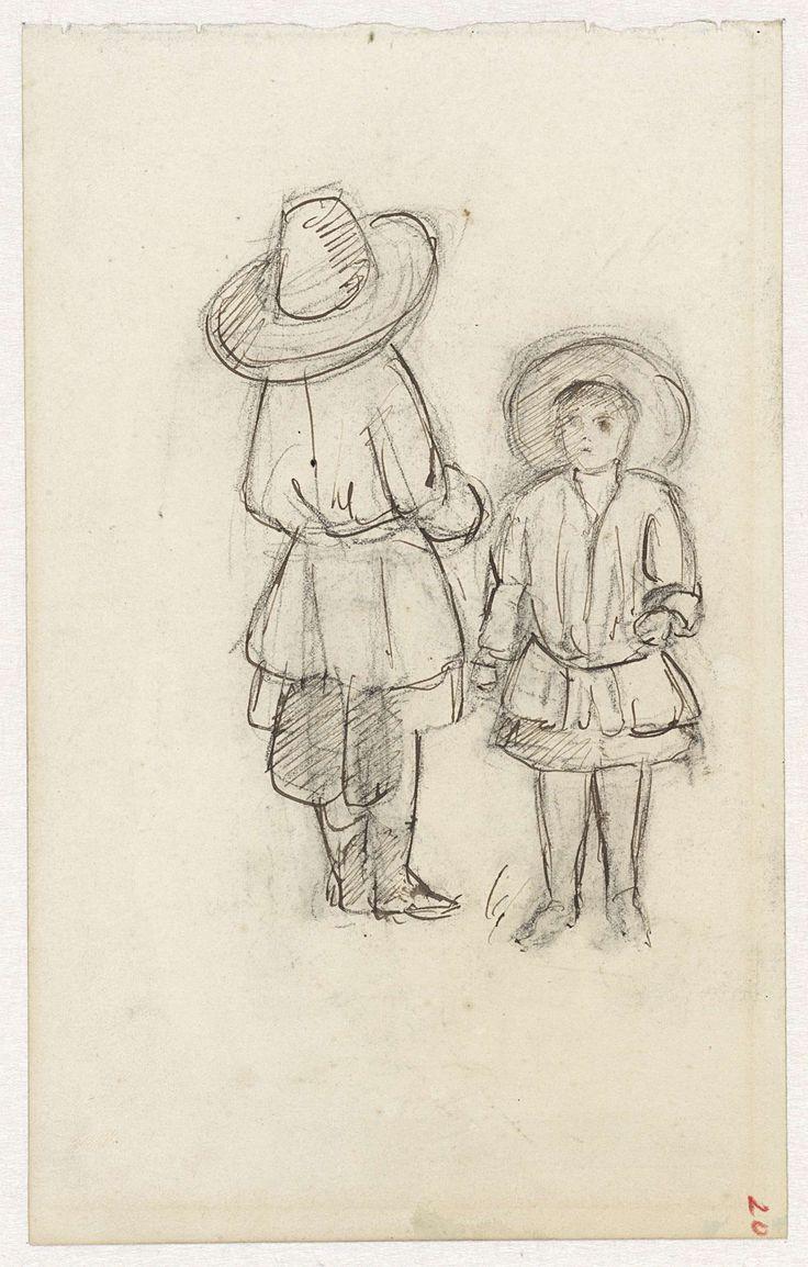 Twee kinderen met grote hoeden, Jozef Israëls, 1834 - 1911