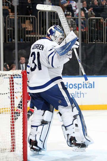 NEW YORK, NY - JANUARY 13: Frederik Andersen #31 of the Toronto Maple Leafs reacts after defeating the New York Rangers 4-2 at Madison Square Garden on January 13, 2017 in New York City. (Photo by Jared Silber/NHLI via Getty Images)