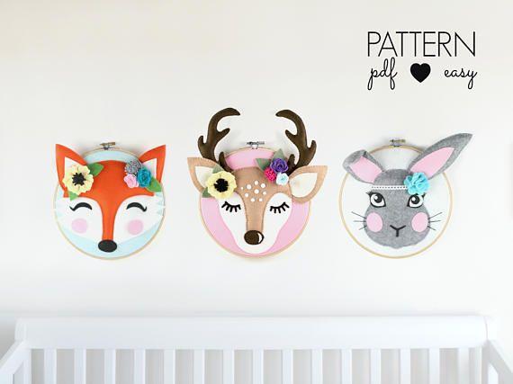 Woodland Nursery Wall Art Pattern Faux Taxidermy Nursery Art Embroidery Hoop Art Felt Deer Felt Bunny Felt Fox