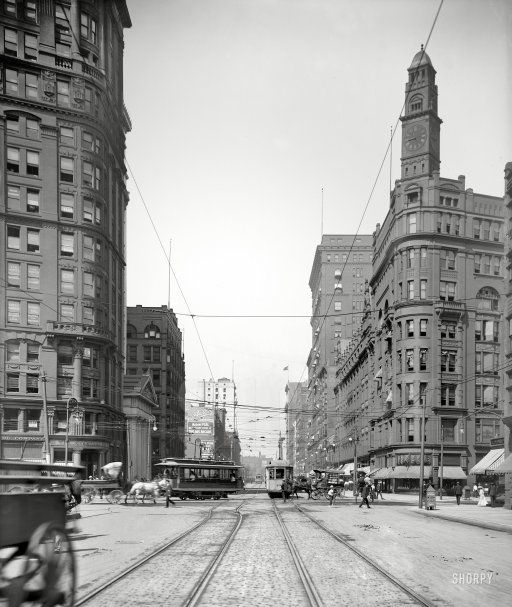"""Circa 1905. """"Euclid Avenue, Cleveland, O."""" The clock tower belongs to the Hickox Building (1890-1946), at the intersection with East Ninth Street. 8x10 inch dry plate glass negative, Detroit Publishing Company."""