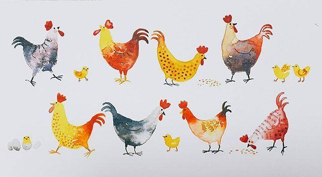 Chickens & Chicks Happy 2017, the Year of the Chicken!!! . . . . #illustration #illust #watercolor #watercolorillustration #새해복많이받으세요 #happynewyear #chicken #chick #egg #animals #art #artwork #artstagram #drawing #daily #그림그리기 #드로잉 #일러스트 #수채화 #그림스타그램 #일상