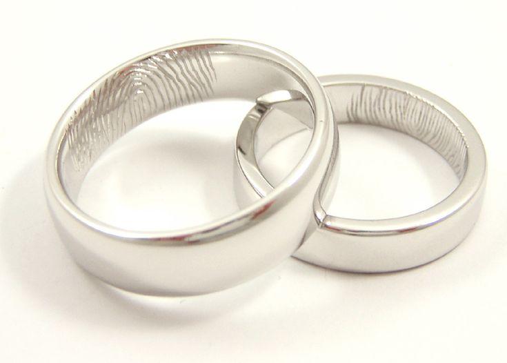 Fabulous Finger print wedding bands brides finger print on husband u husbands on the brides band